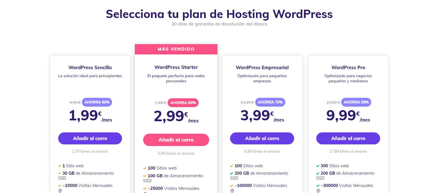 Planes de alojamiento WordPress en Hostinger