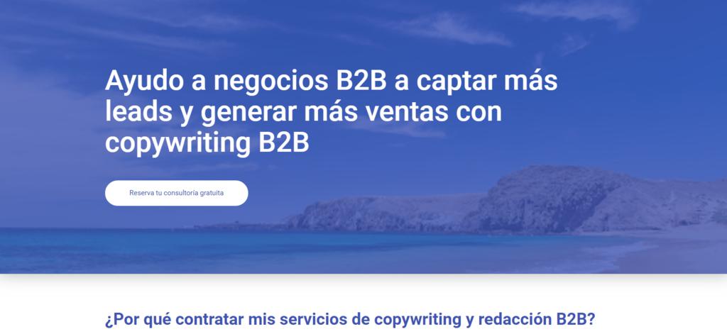 Ejemplo de diseño de página de inicio en el sitio web de Alfonso Carbajo