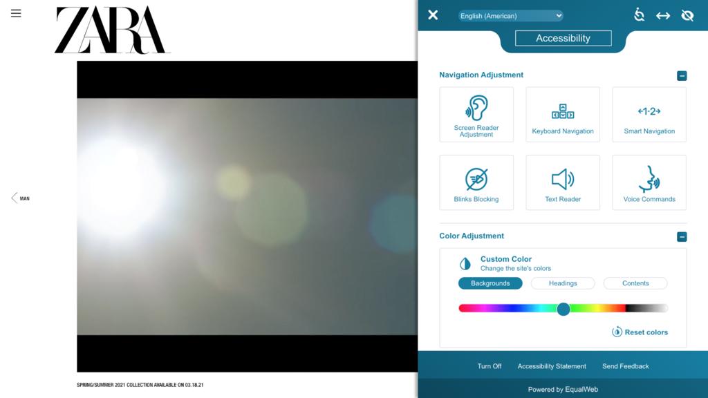 EqualWeb utilizado en el sitio web de Zara
