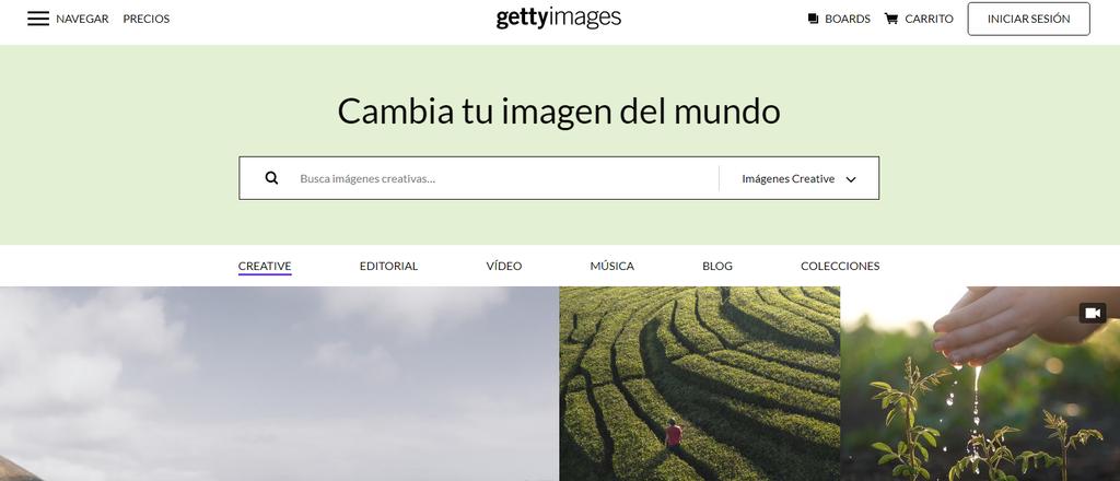 Sitio de venta de fotos Getty Images