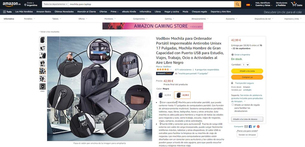 Fotografías con detalles del producto en un producto de Amazon