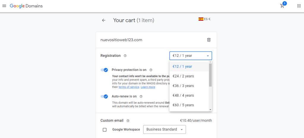 Ejemplo de carrito de compra de dominio en Google Domains mostrando los precios por año
