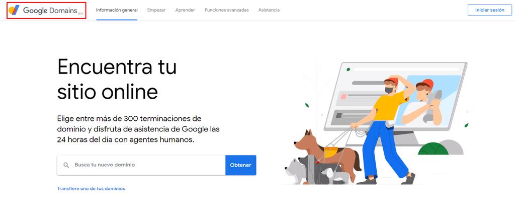 Captura de pantalla que muestra que Google Domains está en versión beta