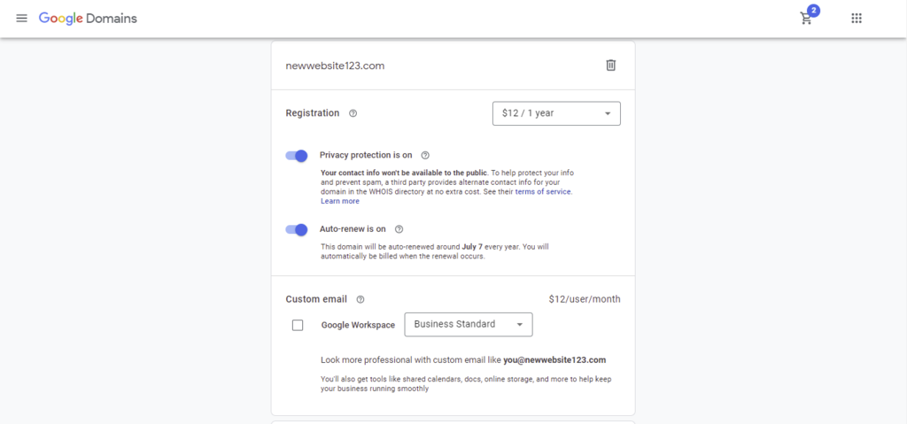 Página de checkout de Google Domains