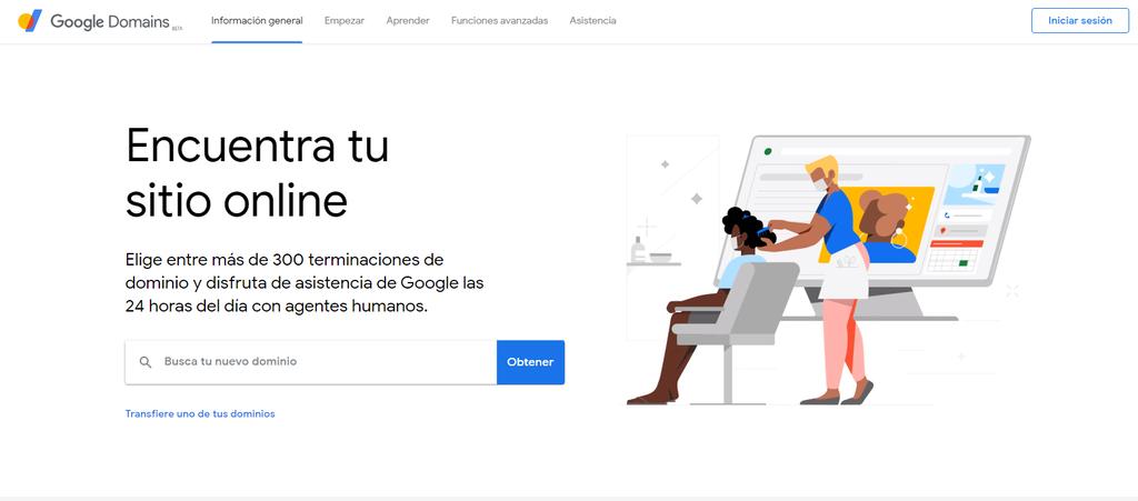 Página de inicio de Google Domains