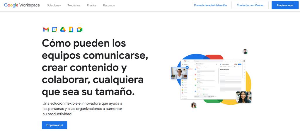 Página de inicio de Google Workspace