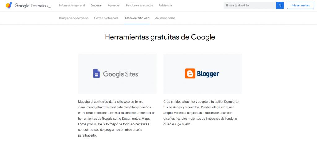 Herramientas gratuitas de Google que se pueden conectar con el dominio de Google Domains