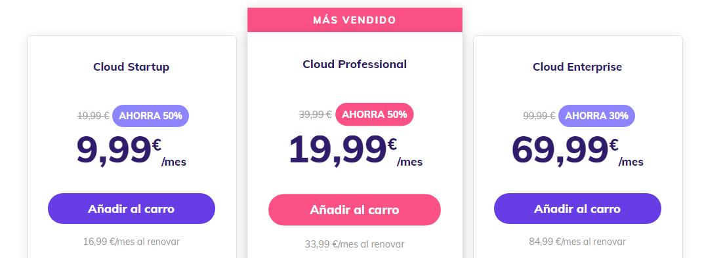 Planes de cloud hosting de Hostinger