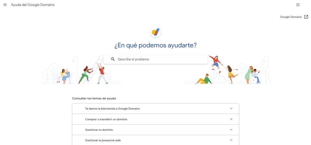 Página de soporte de Google Domains