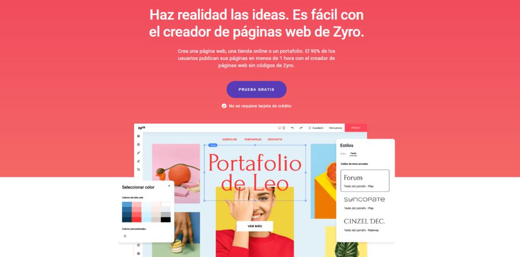 Página de inicio del constructor de sitios web Zyro